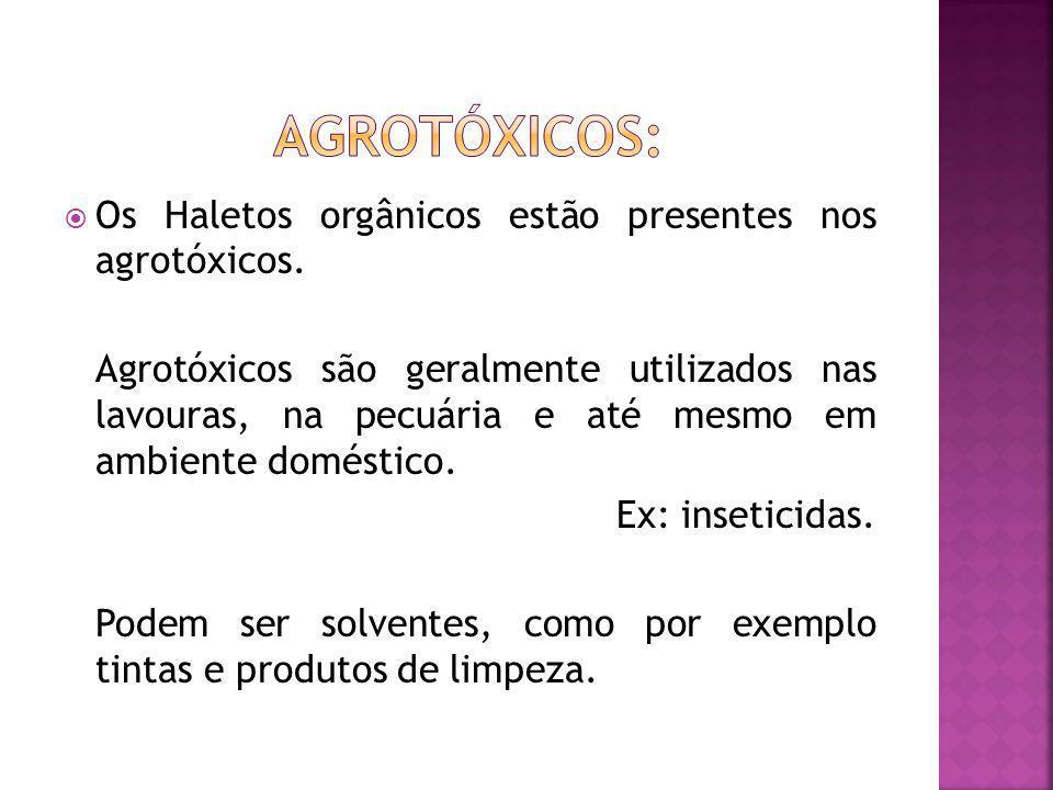 AGROTÓXICOS: Os Haletos orgânicos estão presentes nos agrotóxicos.