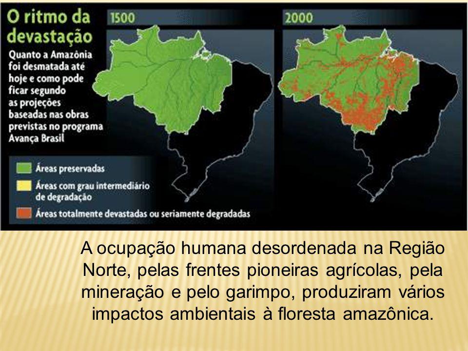 A ocupação humana desordenada na Região Norte, pelas frentes pioneiras agrícolas, pela mineração e pelo garimpo, produziram vários impactos ambientais à floresta amazônica.