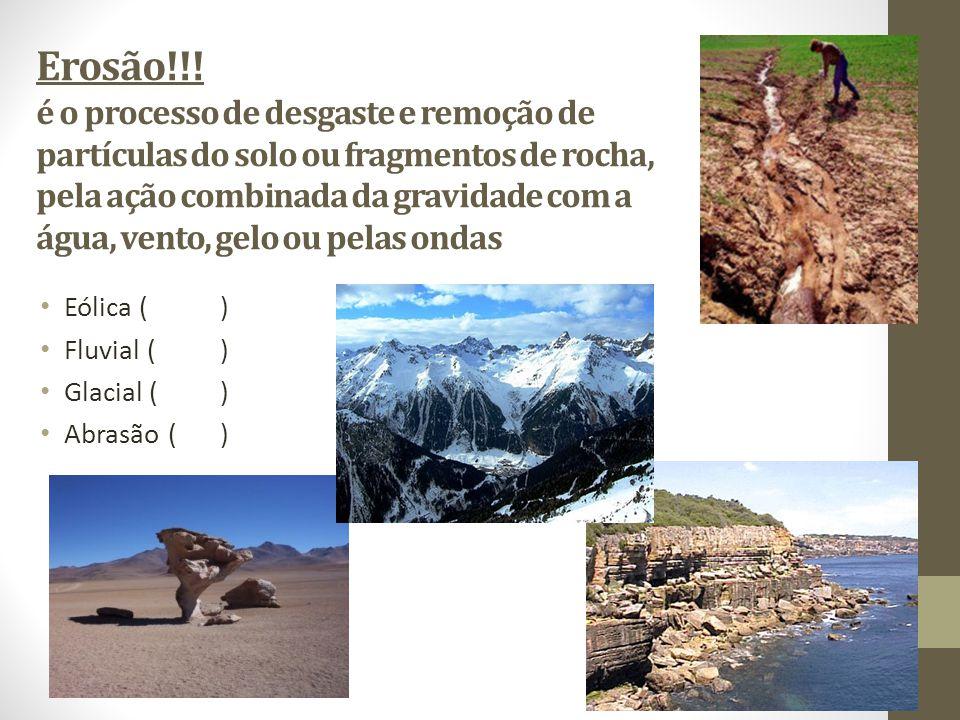Erosão!!! é o processo de desgaste e remoção de partículas do solo ou fragmentos de rocha, pela ação combinada da gravidade com a água, vento, gelo ou pelas ondas