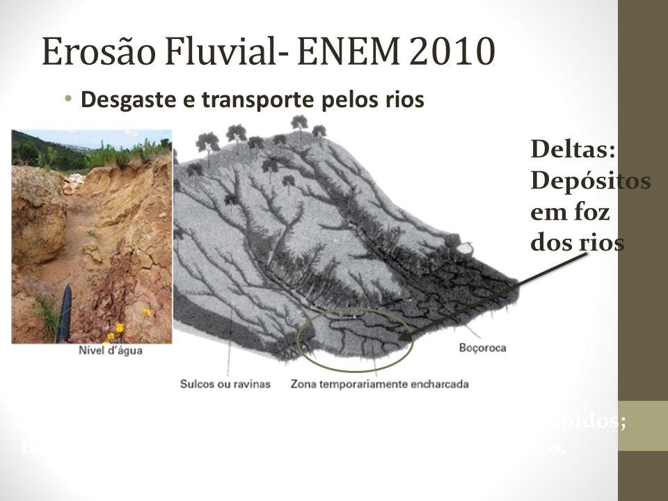 Erosão Fluvial- ENEM 2010 Desgaste e transporte pelos rios Deltas: