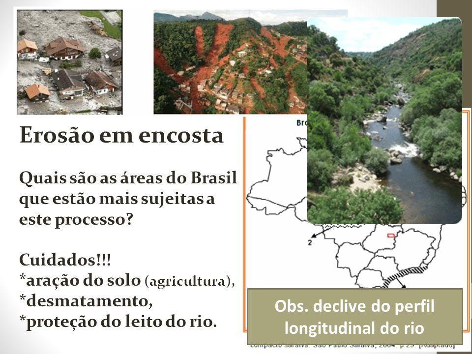 Obs. declive do perfil longitudinal do rio