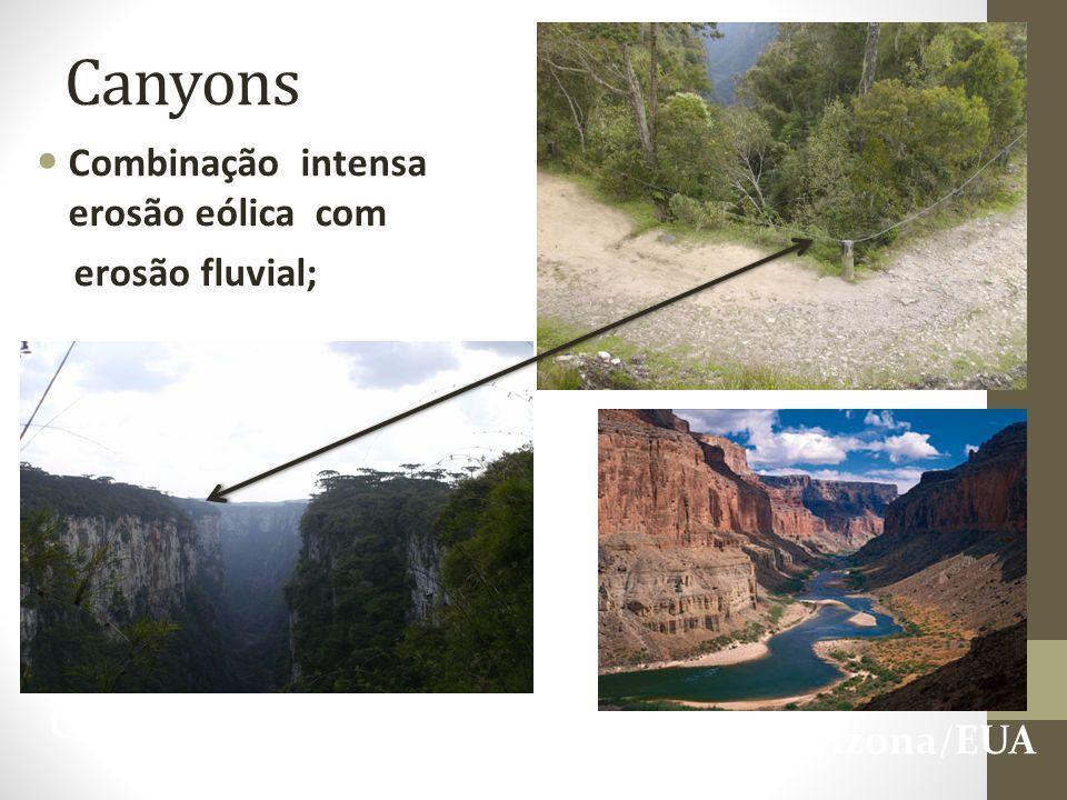 Canyons Combinação intensa erosão eólica com erosão fluvial;