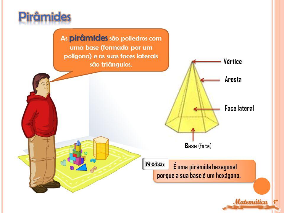 Pirâmides As pirâmides são poliedros com uma base (formada por um polígono) e as suas faces laterais são triângulos.