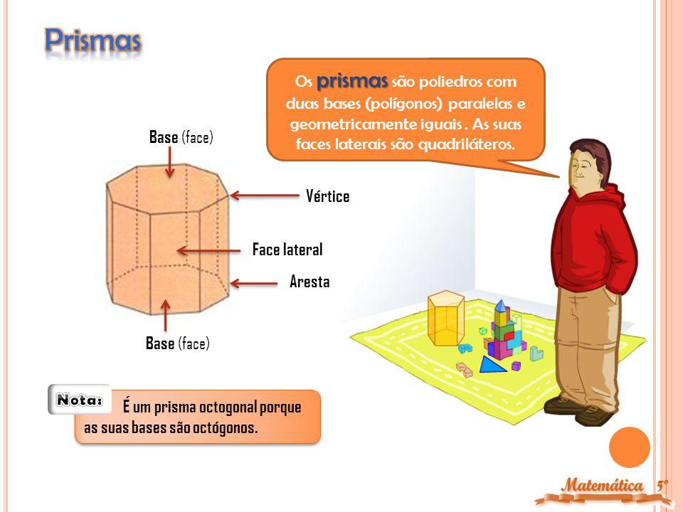 Prismas Os prismas são poliedros com duas bases (polígonos) paralelas e geometricamente iguais . As suas faces laterais são quadriláteros.