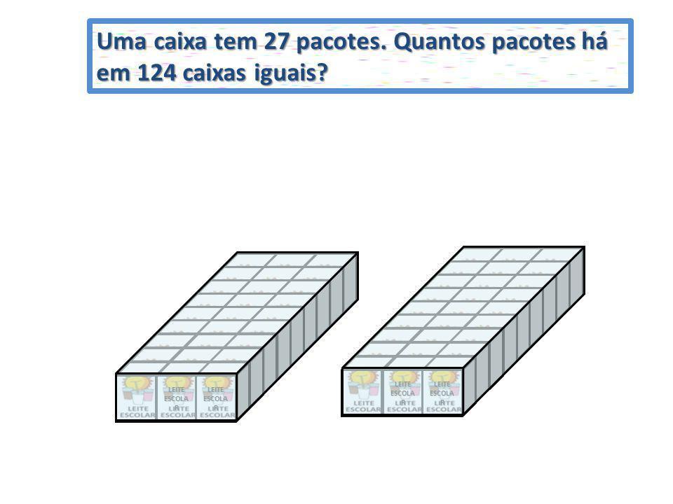 Uma caixa tem 27 pacotes. Quantos pacotes há em 124 caixas iguais