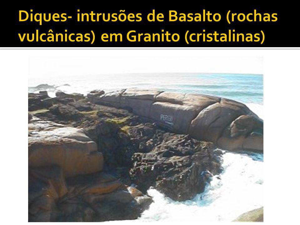 Diques- intrusões de Basalto (rochas vulcânicas) em Granito (cristalinas)
