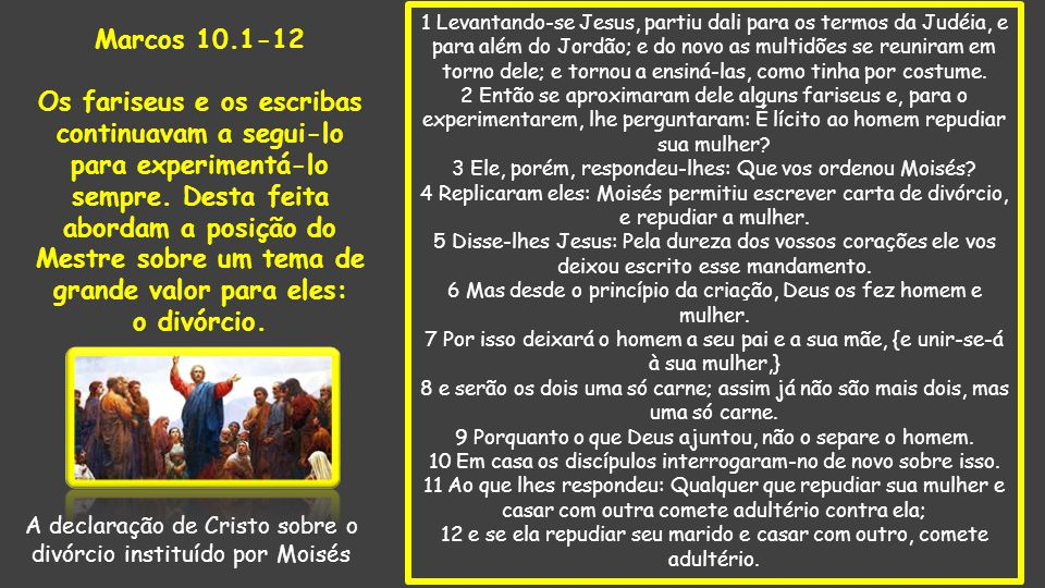 A declaração de Cristo sobre o divórcio instituído por Moisés