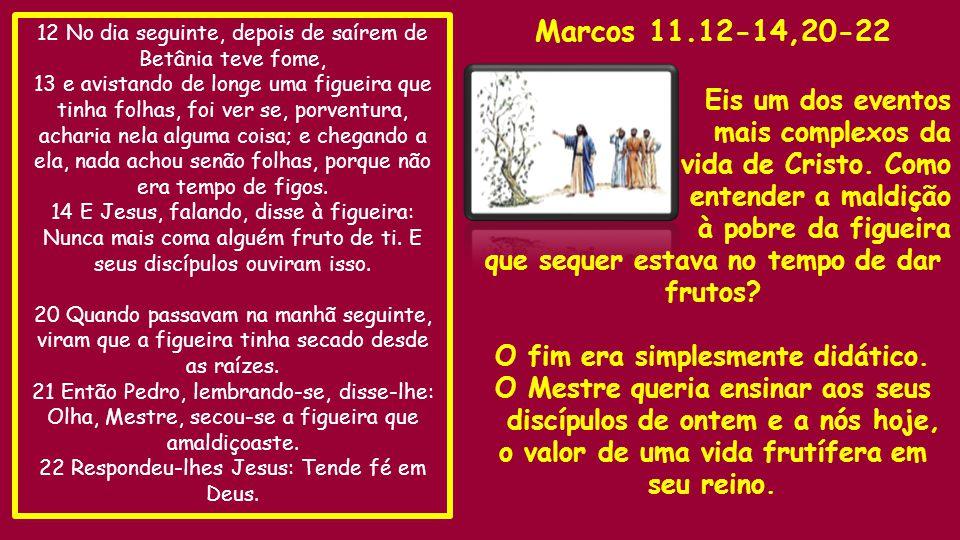 Marcos 11.12-14,20-22 Eis um dos eventos mais complexos da