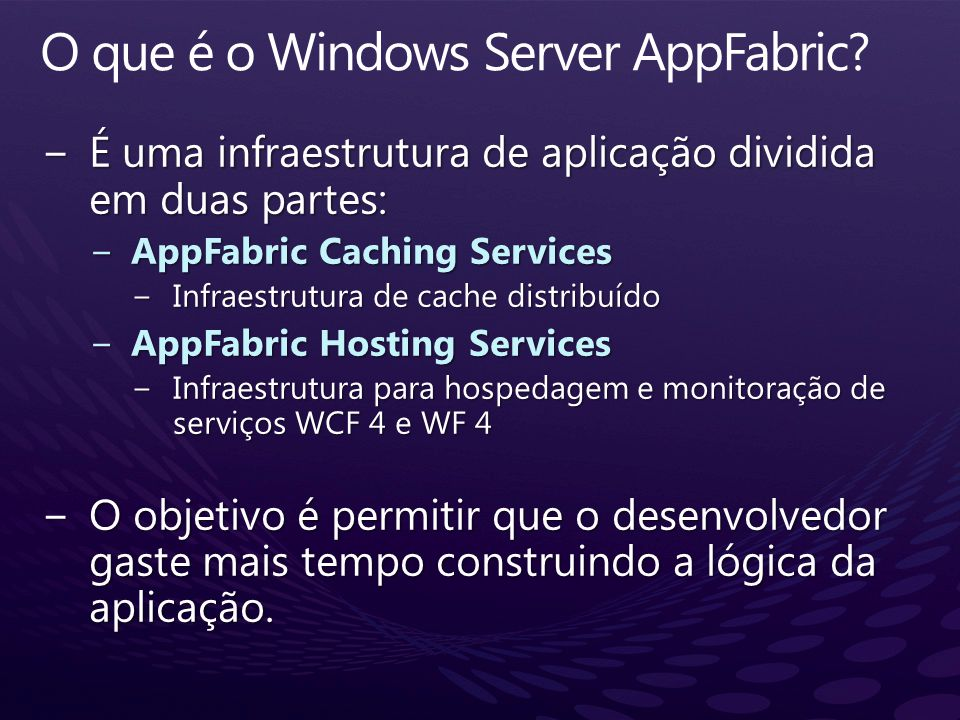 O que é o Windows Server AppFabric