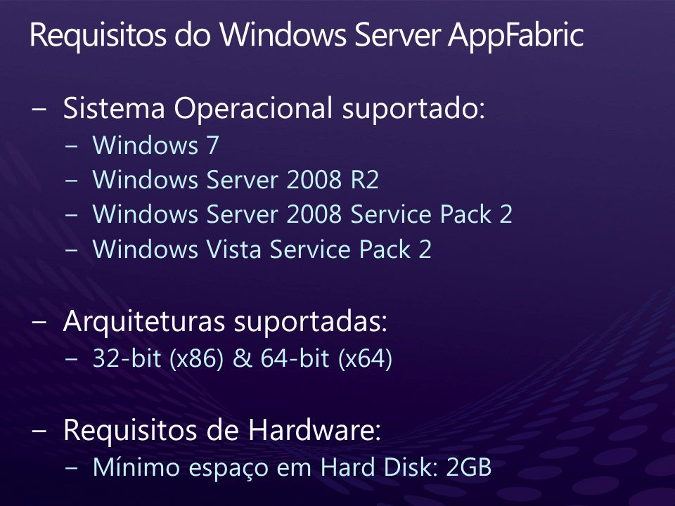 Requisitos do Windows Server AppFabric