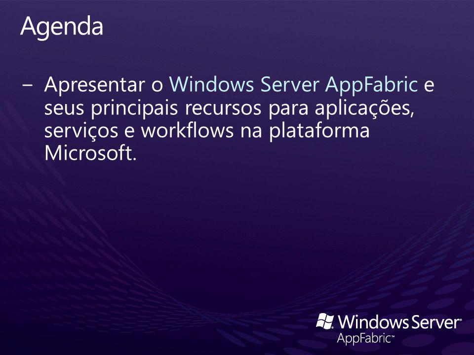 Agenda Apresentar o Windows Server AppFabric e seus principais recursos para aplicações, serviços e workflows na plataforma Microsoft.