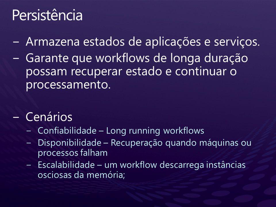Persistência Armazena estados de aplicações e serviços.