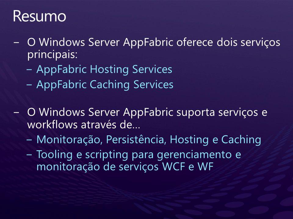 Resumo O Windows Server AppFabric oferece dois serviços principais: