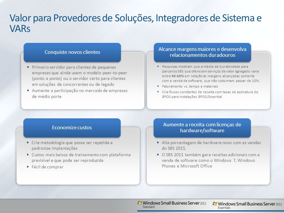 Valor para Provedores de Soluções, Integradores de Sistema e VARs