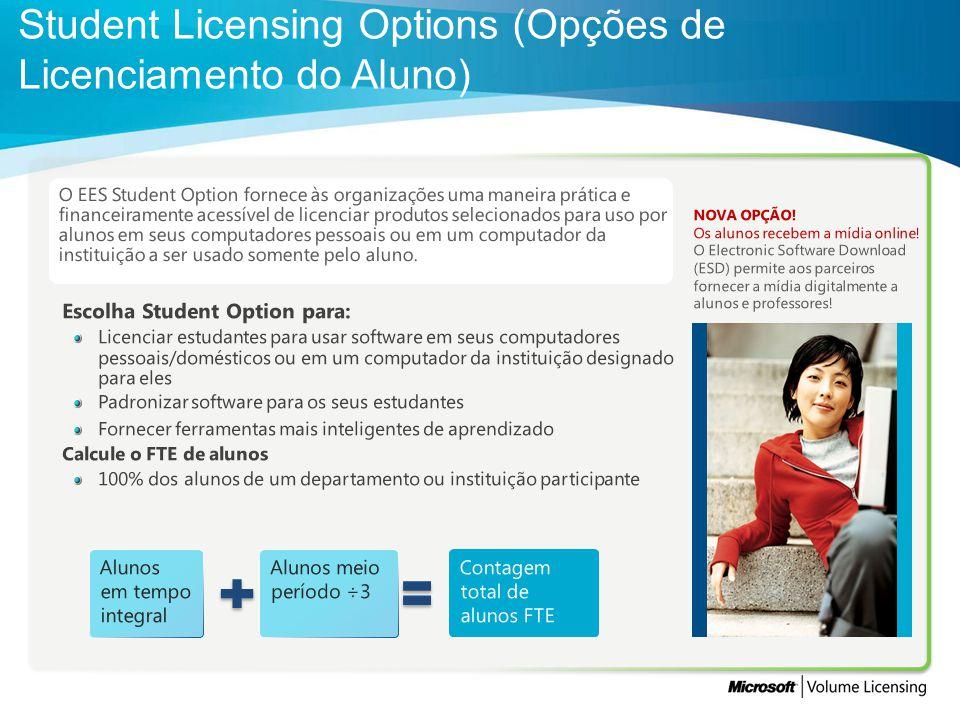 Student Licensing Options (Opções de Licenciamento do Aluno)