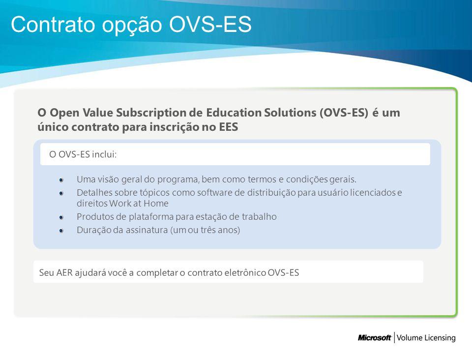 Contrato opção OVS-ES O Open Value Subscription de Education Solutions (OVS-ES) é um único contrato para inscrição no EES.
