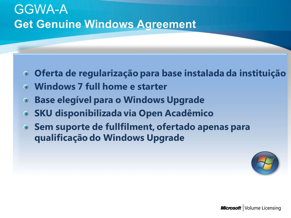 GGWA-A Get Genuine Windows Agreement