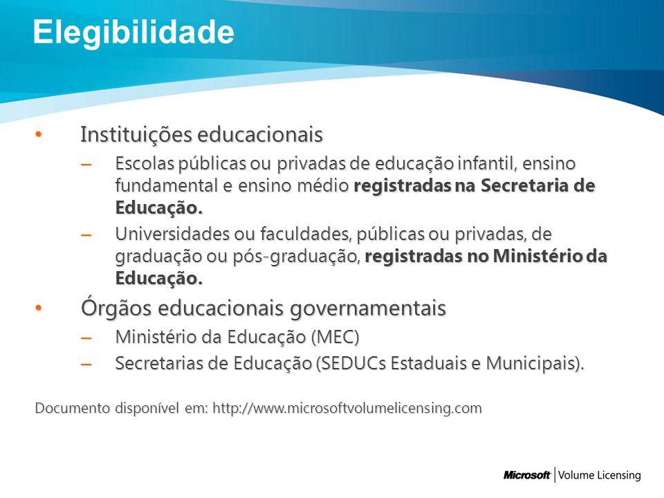 Elegibilidade Instituições educacionais
