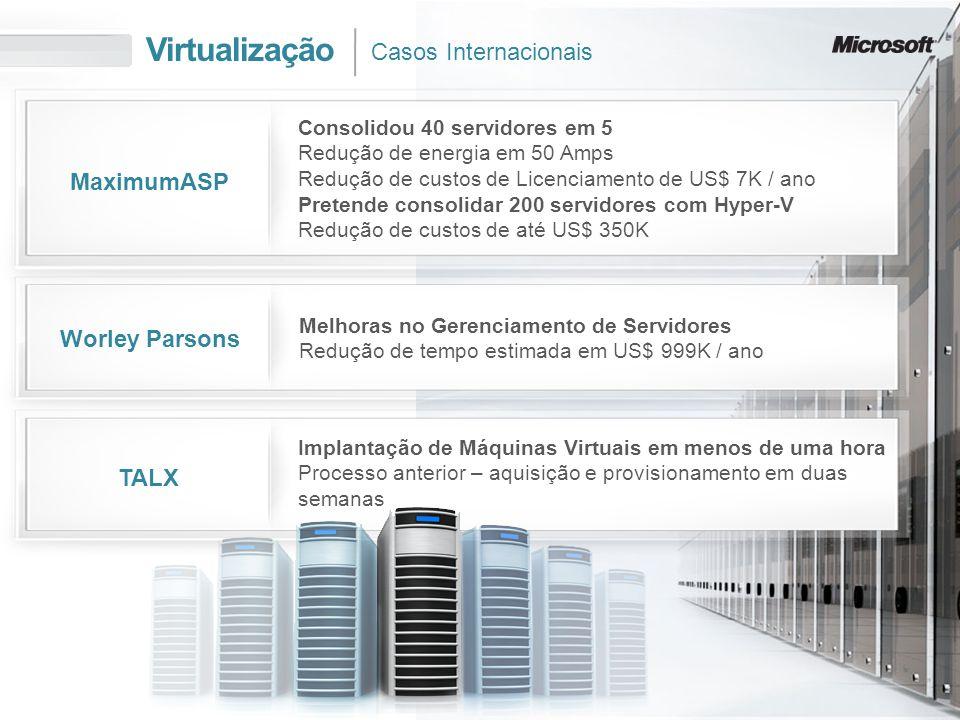 Virtualização Casos Internacionais MaximumASP Worley Parsons TALX