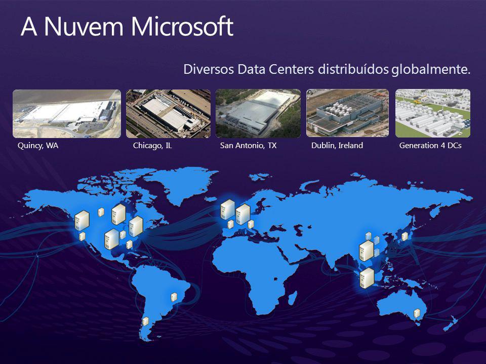 A Nuvem Microsoft Diversos Data Centers distribuídos globalmente.