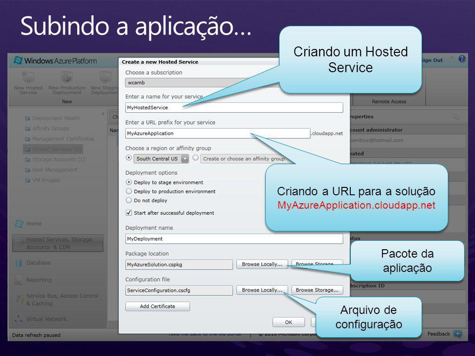 Subindo a aplicação… Criando um Hosted Service