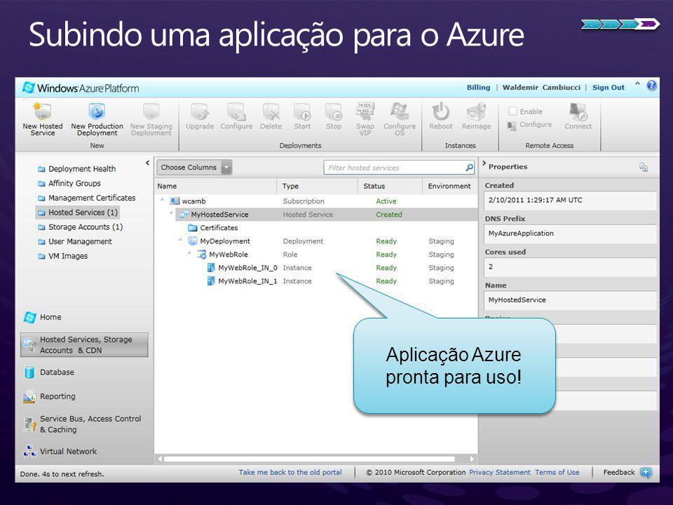 Subindo uma aplicação para o Azure