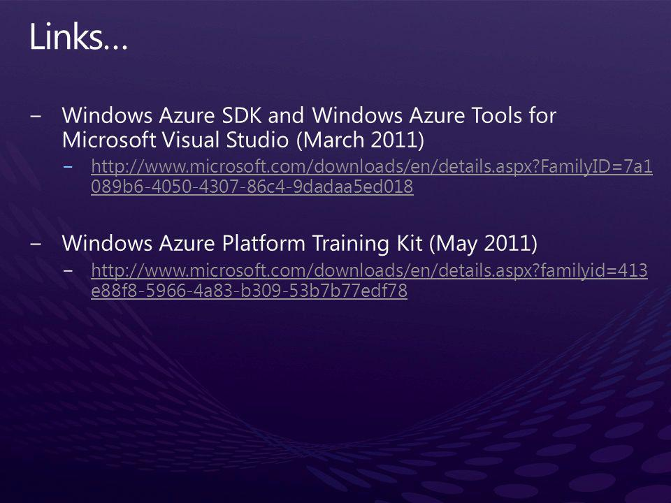 Links… Windows Azure SDK and Windows Azure Tools for Microsoft Visual Studio (March 2011)