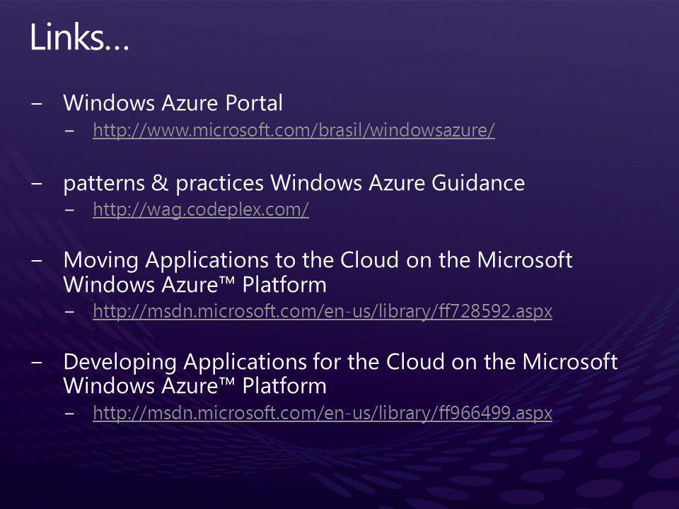 Links… Windows Azure Portal