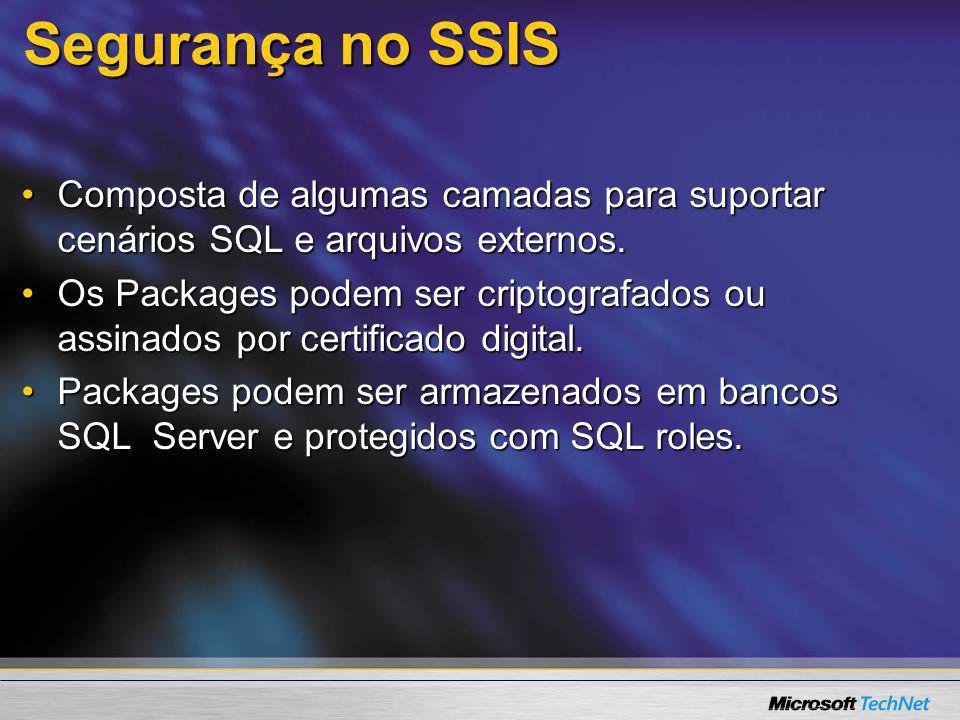 Segurança no SSIS Composta de algumas camadas para suportar cenários SQL e arquivos externos.