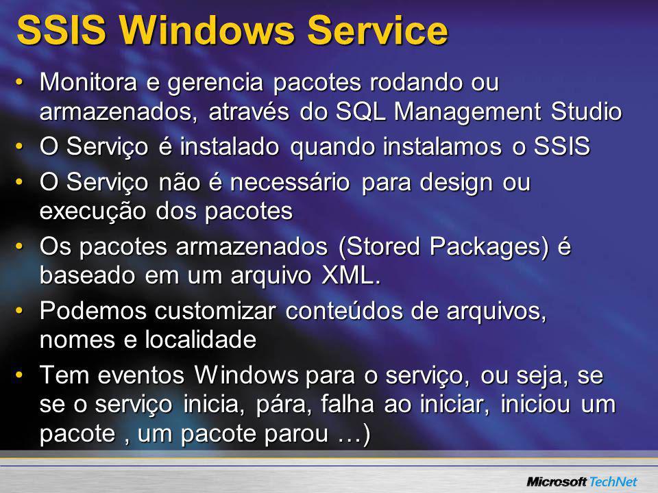 SSIS Windows Service Monitora e gerencia pacotes rodando ou armazenados, através do SQL Management Studio.