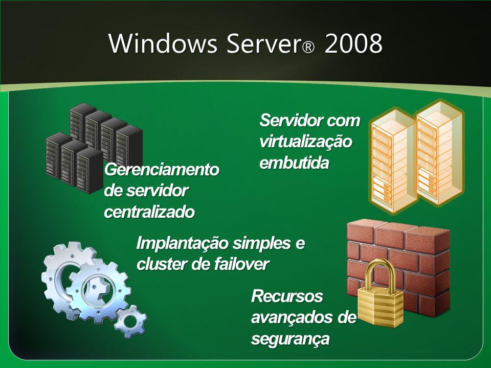 Windows Server® 2008 Servidor com virtualização embutida