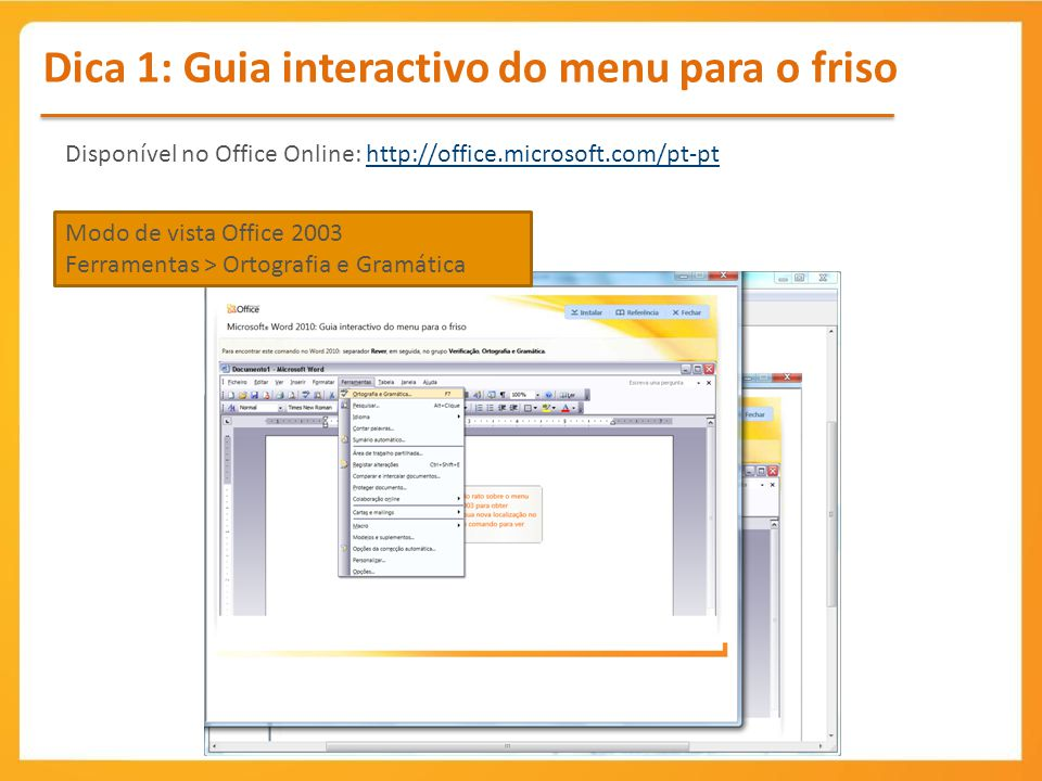 Dica 1: Guia interactivo do menu para o friso