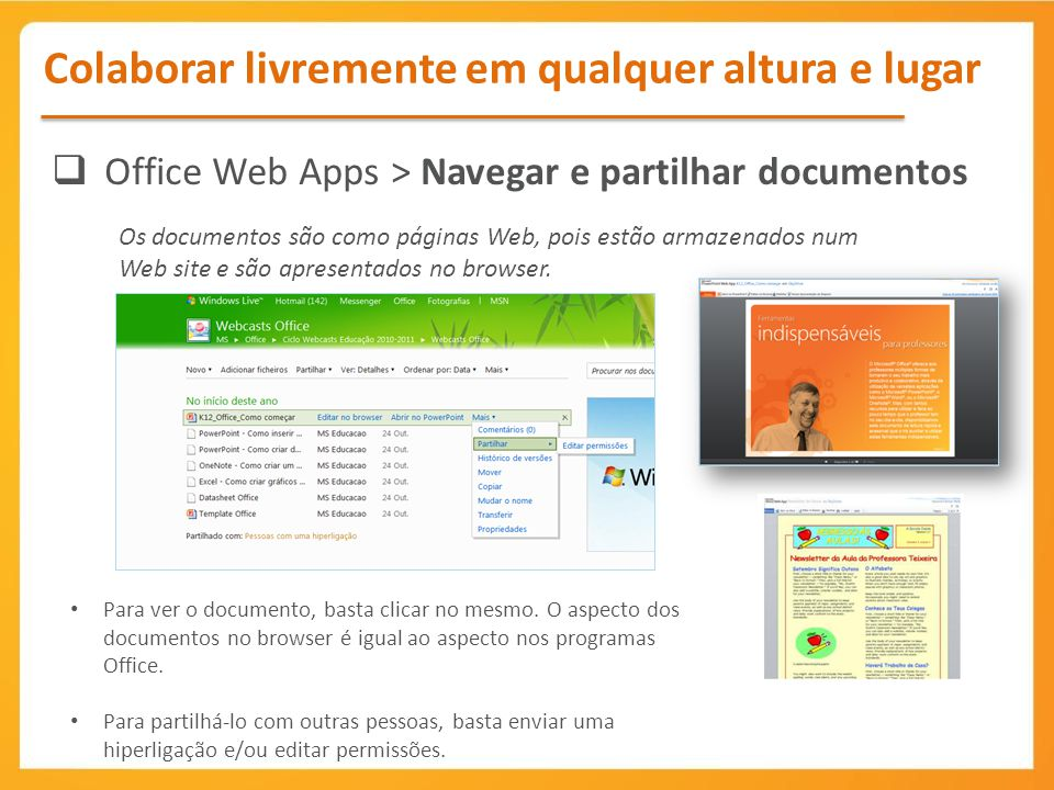 Office Web Apps > Navegar e partilhar documentos