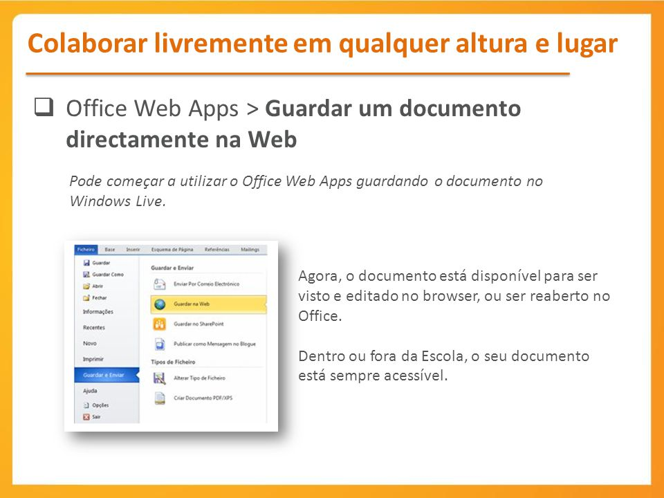 Office Web Apps > Guardar um documento directamente na Web