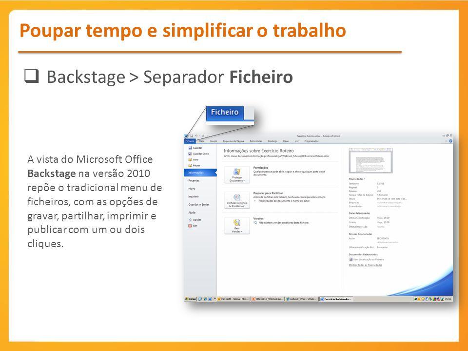 Backstage > Separador Ficheiro
