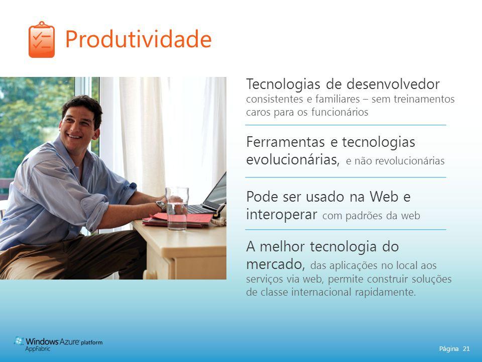 Produtividade Tecnologias de desenvolvedor consistentes e familiares – sem treinamentos caros para os funcionários.