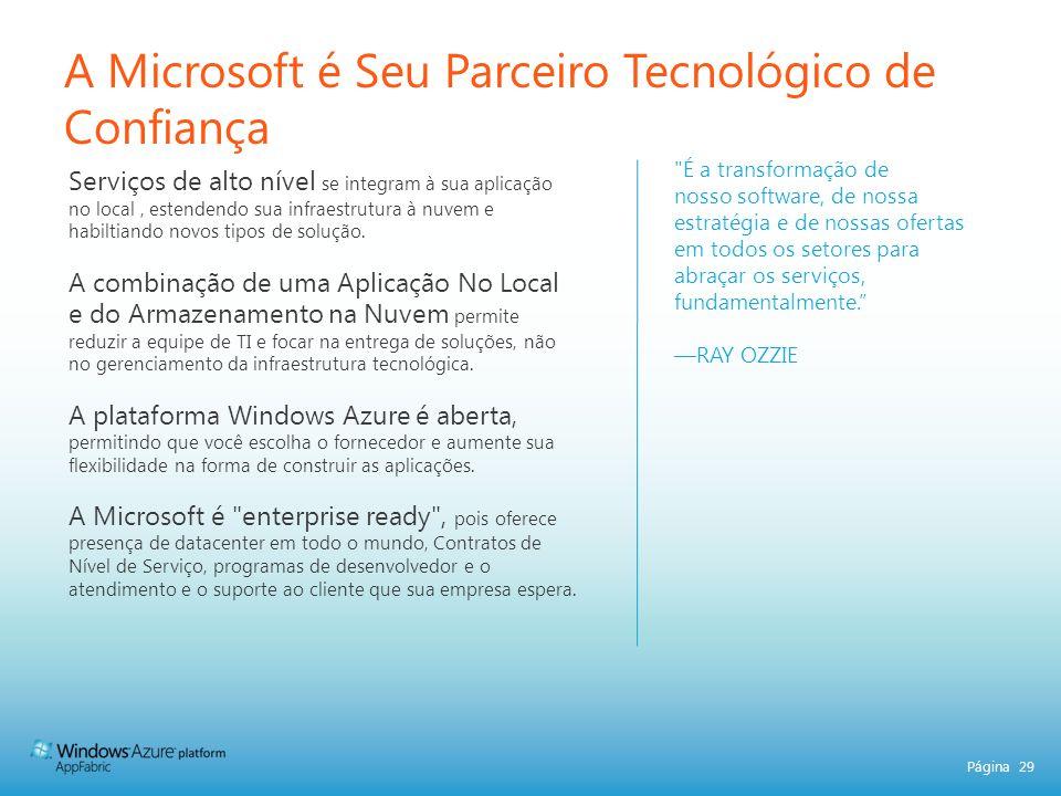 A Microsoft é Seu Parceiro Tecnológico de Confiança