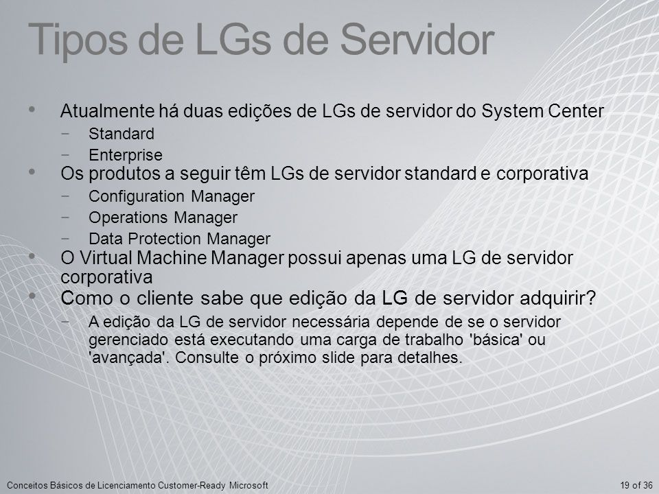 Tipos de LGs de Servidor