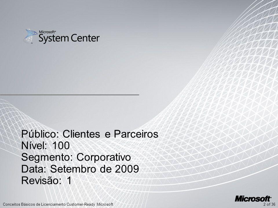 Público: Clientes e Parceiros Nível: 100 Segmento: Corporativo Data: Setembro de 2009 Revisão: 1