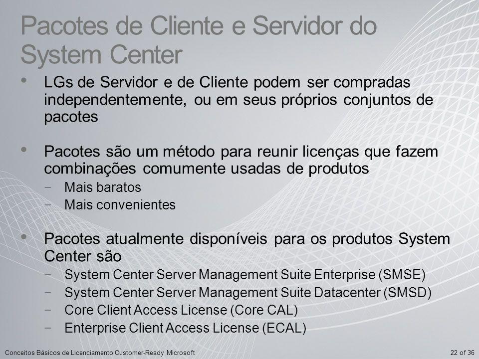 Pacotes de Cliente e Servidor do System Center