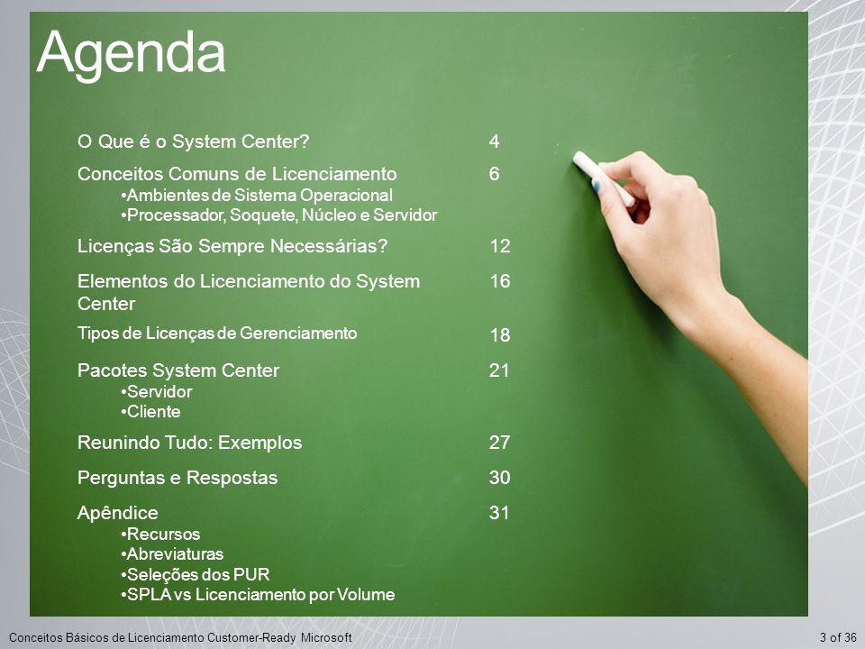 Agenda O Que é o System Center 4 Conceitos Comuns de Licenciamento 6