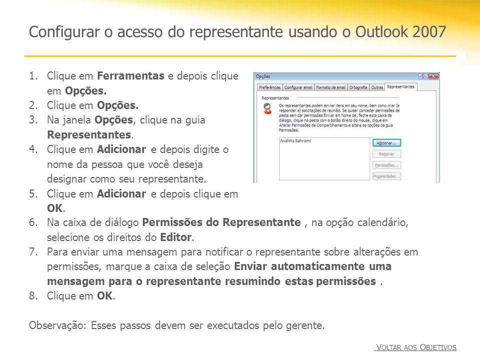 Configurar o acesso do representante usando o Outlook 2007