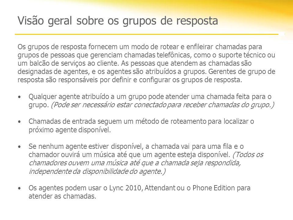 Visão geral sobre os grupos de resposta
