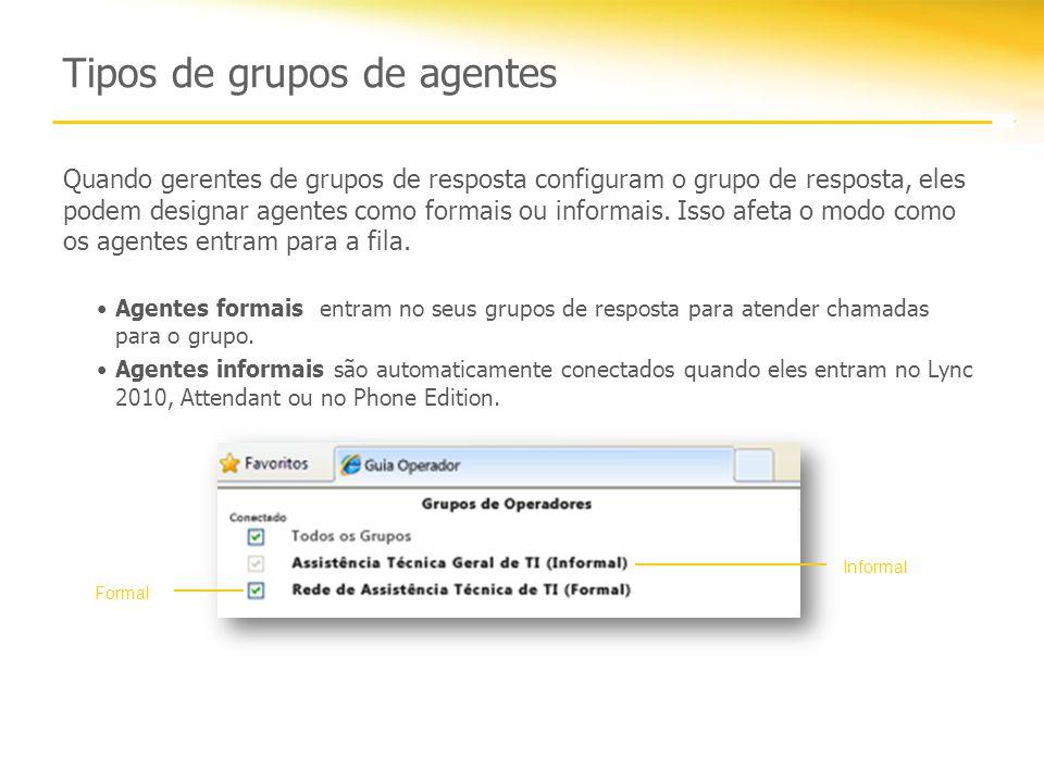 Tipos de grupos de agentes