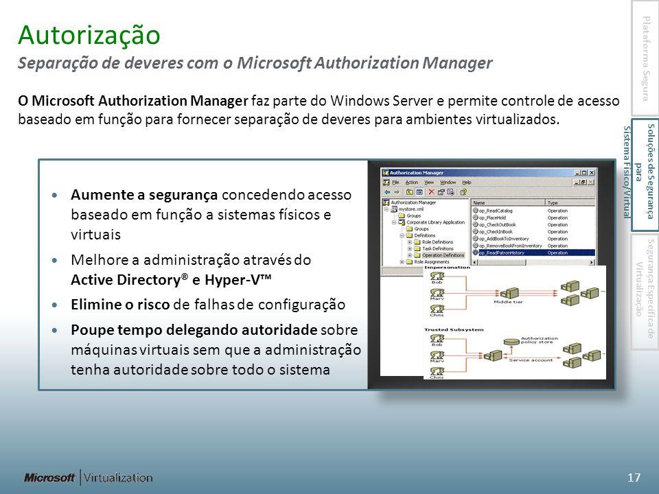Autorização Separação de deveres com o Microsoft Authorization Manager