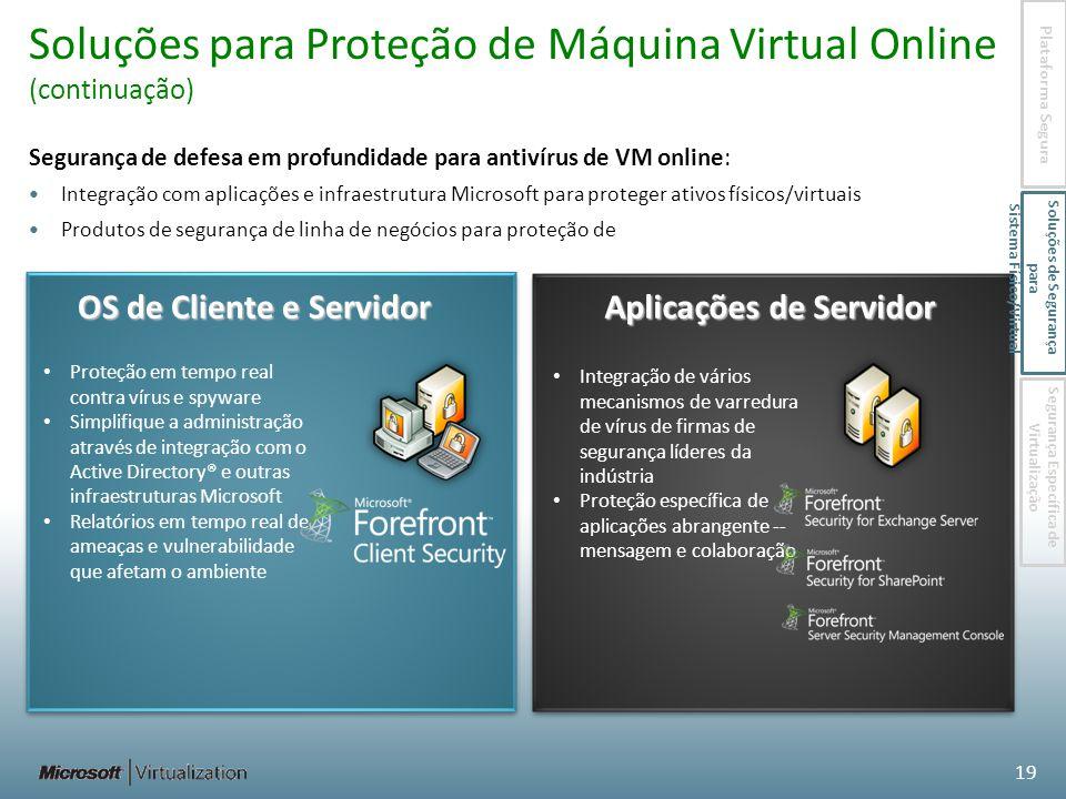 Soluções para Proteção de Máquina Virtual Online (continuação)