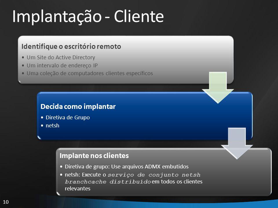 Implantação - Cliente Identifique o escritório remoto