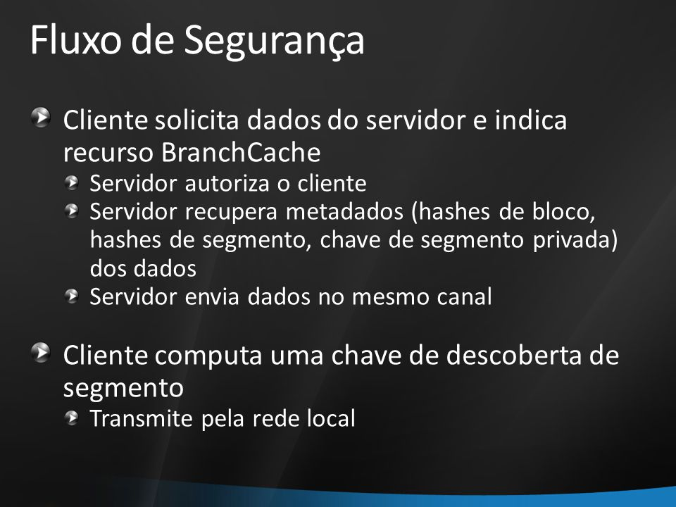 Fluxo de Segurança Cliente solicita dados do servidor e indica recurso BranchCache. Servidor autoriza o cliente.