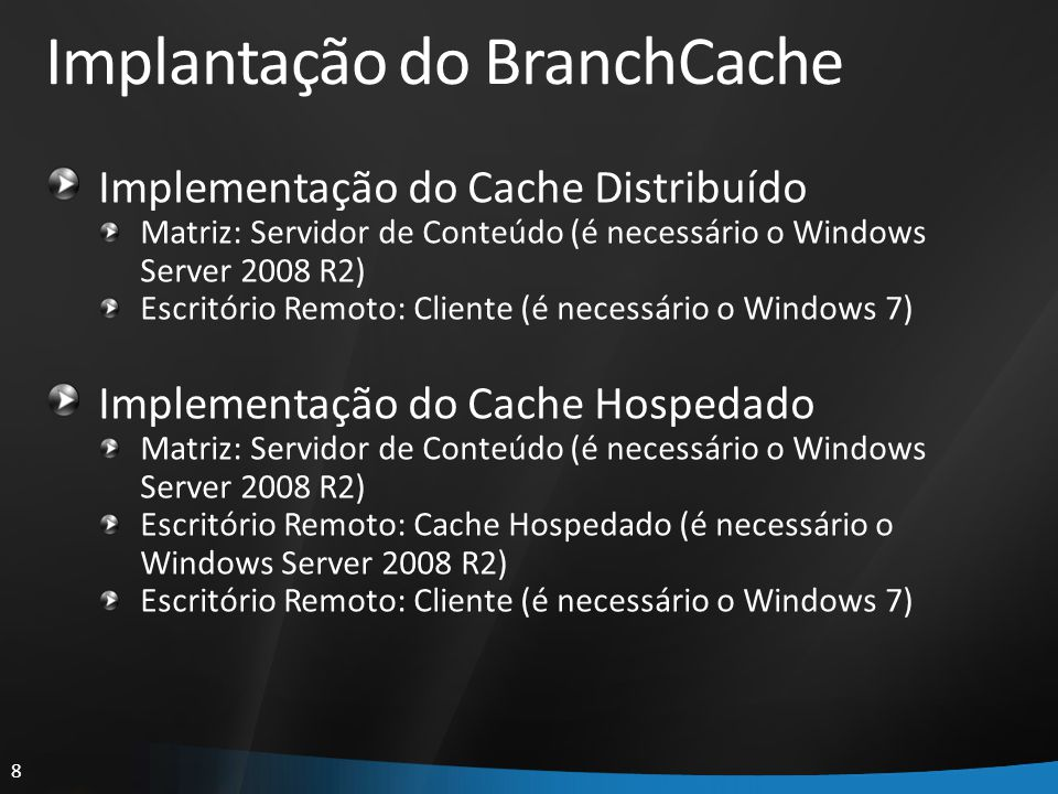 Implantação do BranchCache