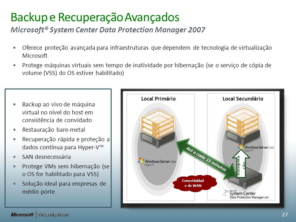 Backup e Recuperação Avançados Microsoft® System Center Data Protection Manager 2007